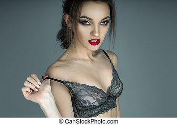 sensuale, ritratto, di, charmant, ragazza, con, labbra rossi, in, bello, lac