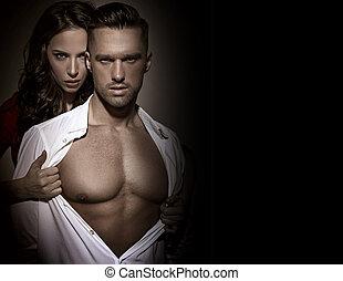 sensuale, signora, toccante, lei, amante, torace