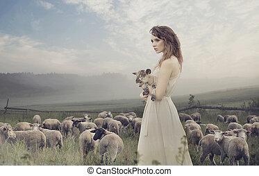 sensuale, signora, tra, sheeps