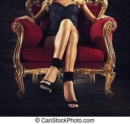 sensuale, velluto, poltrona, donna, rosso