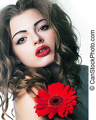 Sensuality - beauty bright girl with festive flower