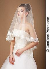 sensuality., frau, schleier, durchsichtig, wedding