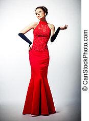 sensuality., jovem, noiva, deslumbrante, vestido, vermelho, europeu