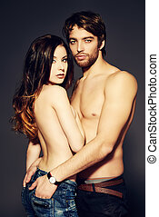 sensuality - Beautiful passionate naked couple in love....