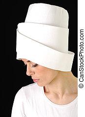 Sensuality, white hat, woman