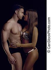 sensually, para, poza, doskonały, ciało