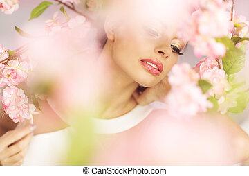sensueel, lippen, van, de, brunette, dame