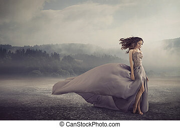 sensueel, vrouw het lopen, op, de, fantasie, grond
