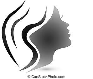 sensueel, vrouw, mode, logo