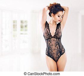 sensueel, vrouw, vervelend, de, kant, ondergoed