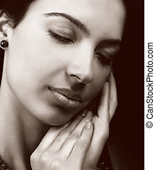 sensuell, kvinna, med, lent skinn