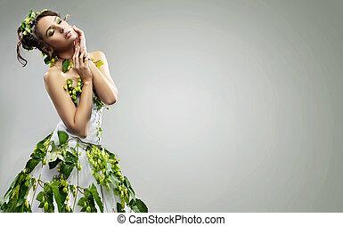sensuell, kvinna, ung, pose