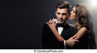 sensuell, stående, av, söt, par