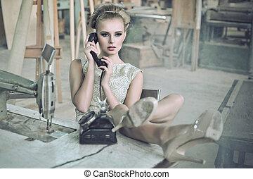 sensuelle, telefoner. kvinde
