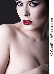 sensuelles, beau, nue, brunette, girl, sur, sombre, toile de fond, caucasien, femme