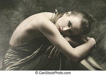 sensuelles, femme, jeune