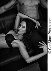 sensuelles, portrait, black&white, couple