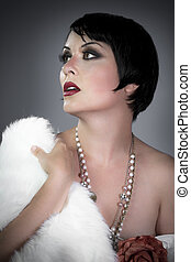 sensuous short haired brunette woman, bare shoulders with white fur, flirty, beautiful, sweet, 20s flapper hollywood style