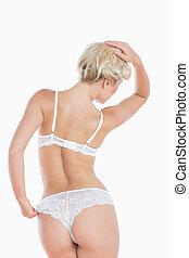 Sensuous woman in white underwear