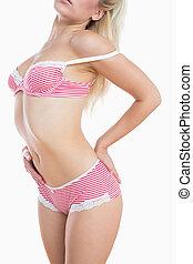 Sensuous woman posing in lingerie - Sensuous young woman...