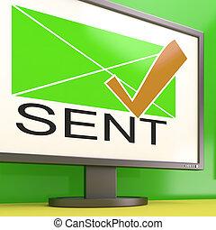 Sent Envelope On Monitor Showing Delivered Messages