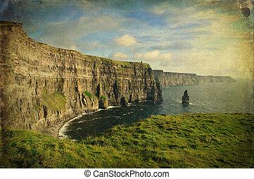 sent, kväll, solnedgång, berömd, irländsk, moher klippor