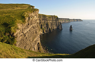 sent, solnedgång, berömd, irländsk, moher klippor