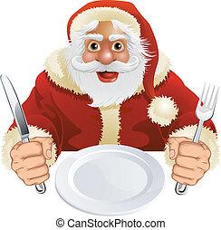 sentada, claus, santa, jantar natal
