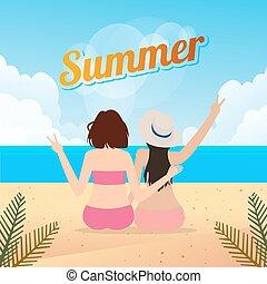sentado, arenoso, juntos, dos, estilo de vida, al aire libre, mujeres, viaje, verano, playa, joven
