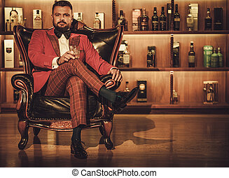 sentado, club, sillón, caballero, vidrio, extravagante, ...