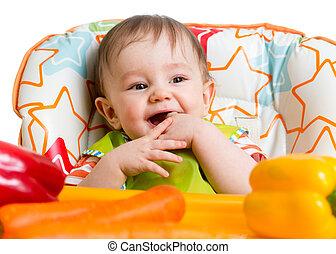 sentado, comer, bebé, listo, sonriente, silla