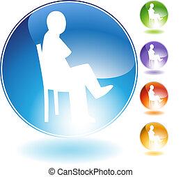 sentado, concepto, cristal, icono