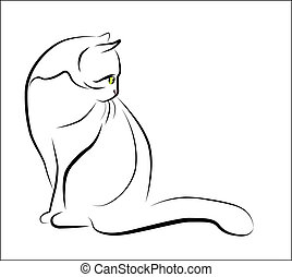 sentado, contorno, ilustración, gato
