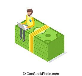 sentado, dinero, aislado, vector, hombre de negocios, paquete