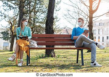 sentado, distancing, banco, mujer hombre, social