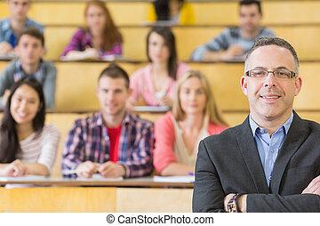 sentado, estudiantes, vestíbulo, elegante, conferencia, profesor