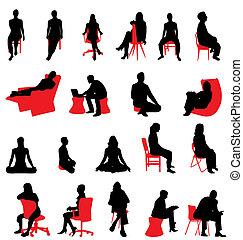 sentado, gente, siluetas
