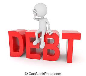 sentado, humano, texto, deuda, blanco, 3d