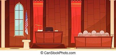sentado, justicia, courtroom, retro, ley, cartel