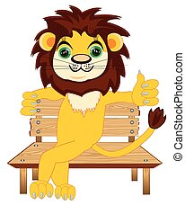 sentado, león, banco, animal, caricatura, de madera
