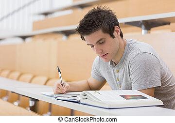 sentado, notas, libro, lectura del estudiante, toma