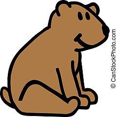 sentado, oso, teddy