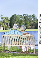 sentado, pareja, banca de parque, 3º edad, vista trasera