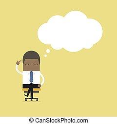 sentado, pensamiento, mientras, chair., africano, hombre de negocios