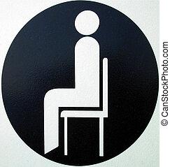 sentado, señal, área