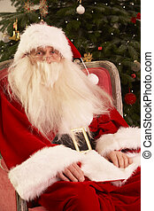 sentado, sillón, claus, árbol, santa, frente, navidad