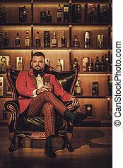 sentado, sillón, vidrio, extravagante, elegante, whisky, ...
