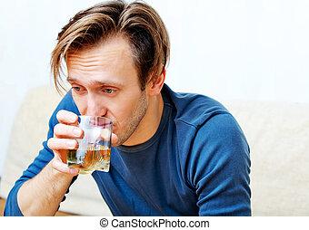 sentado, whisky, borracho, sofá, bebida, hombre