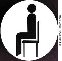 sentando, área, sinal