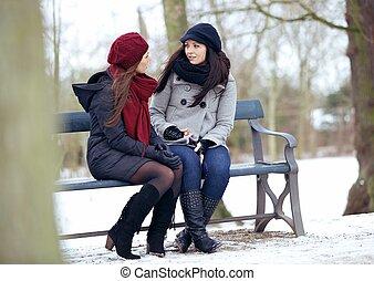 sentando, bestfriends, banco, conversação, enquanto, sério